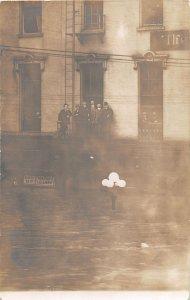 F45/ Dayton Ohio RPPC Postcard 1913 Flood Disaster Men Optician 19
