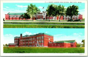 Bay City, Michigan Postcard T.L. Handy Junior High School Curteich c1930s