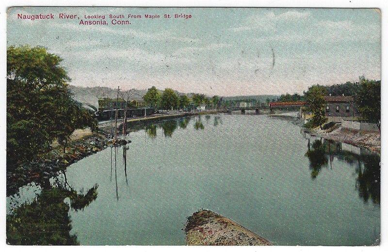 Ansonia, Connecticut, View of Naugatuck River, Looking South, 1913