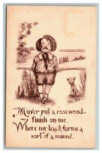 Vintage 1900's Comic Postcard Boy Crying Spanking Artist Tom Yad Sepia Print