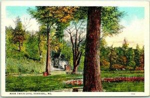 Vintage Hannibal, Missouri Postcard MARK TWAIN CAVE Curteich Linen 1938 Cancel