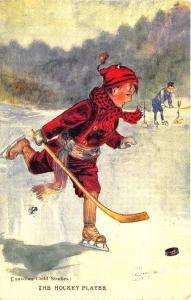 Canadian Child Studies The Hockey Player Signed Artist Postcard
