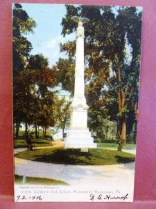 Postcard PA Norristown Soldiers and Sailors Monument 1906