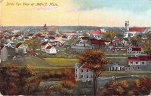 Milford Massachusetts Birds Eye View Antique Postcard J51432