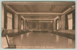 Portland Oregon~Hotel Multnomah~Ball Room~Seating Along Walls~c1910 Postcard