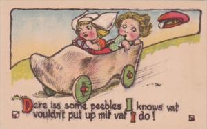Children Dutch Kids Riding In Wooden Shoe Car