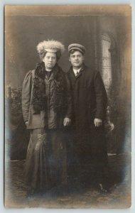 RPPC Low Key~She Fur Scarf & Furry Hat~He Newsboy Cap~Stained Glass Window~c1910