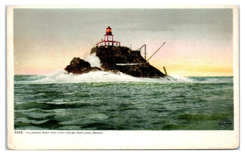 Early 1900s Tillamook Rock and Lighthouse, Portland, OR Postcard