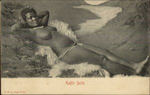 Sexy Beautiful Nude African Woman Kaffir Belle Laying Out c1905 Postcard