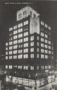 Elizabeth New Jersey~Hersh Tower Night Lights~Dry Goods Store~ART DECO~1940s PC