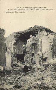CPA Militaire (Dep.55) Restes de l'Eglise de Chattancourt, prés Verdun (91845)