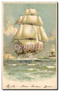 Postcard Old Boat Sailboat Willy Gruner
