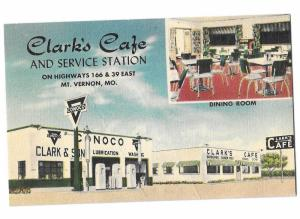 Clark's Conoco Service Station & Cafe Gas & Oil 1950 Mt Vernon Missouri