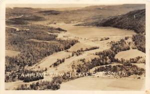 Mountainburg Arkansas~Lake Fort Smith Airplane View~RPPC~RPO Railroad Postmark