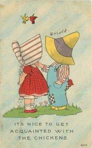 1914 Sun Bonnet Children Romance Comic Humor artist impression Postcard 21-10755