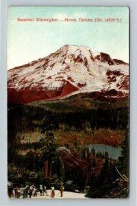 Mount Tacoma WA-Washington, Scenic Mountain View, Hikers, Vintage Postcard