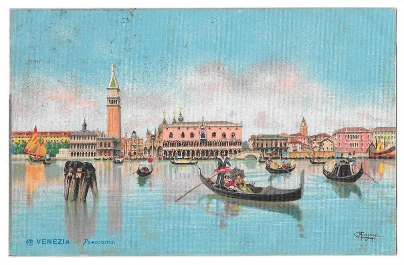 Venice Italy Panorama Gondolas Signed C Menegazzi 1908