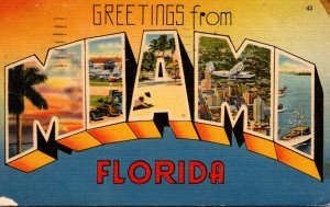 Florida Miami Greetings Large Letter Linen 1947