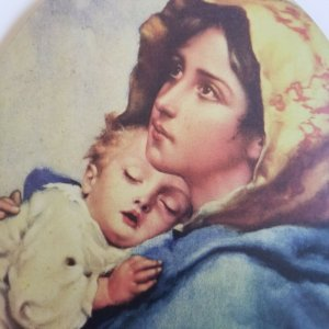 Resting Baby & Mother Vintage Large Victorian Style 1920's Litho