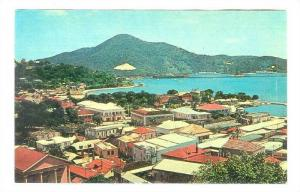 View over colorful rooftops of beautiful Charlotte Amalie harbor, St. Thomas,...