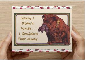 Set of 12 Handmade Postcards, Bulldog with Torn Pants in his Mouth Funny Humor