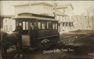 Utica NY Deerfield Old Horse Drawn Street Car c1905 Real Photo Postcard