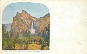 CA, Yosemite National Park, Bridal Falls, Three Graces, Postmark 1910