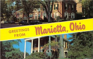 Marietta Ohio 1960s Postcard Banner Multiview Betsy Mills Club College Residence