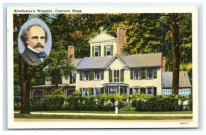 Postcard Hawthorne's Wayside, Concord MA linen G33