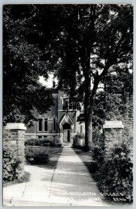 Mt Mount Pleasant Iowa Wesleyan College~Straight Walk to Open Door~RPPC 1940s