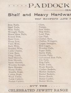 Paddock & Brown Hardware Store - Trade Card, Homer NY, New York