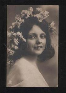 057348 Smiling GIRL w/ Long Hair NYMPH FAIRY vintage PHOTO PC