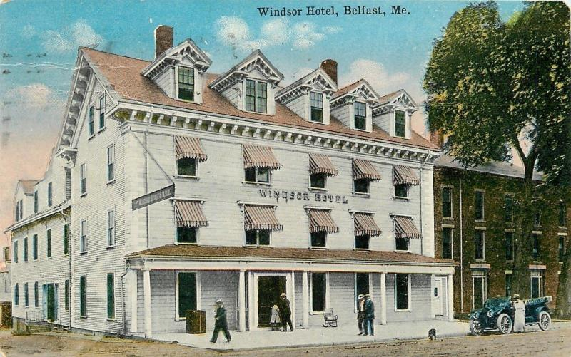 Belfast Maine~Windsor Hotel~House Stable~Trunk on Stoop~Vintage Car~1919 PC