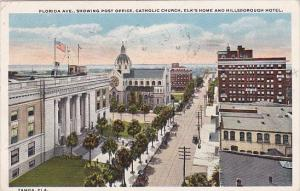 Florida Tampa Florida Avenue Showing Post Office Catholic Church Elks Home An...