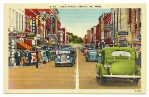 Bristol Tennessee-Virginia Postcard Street View Main Street Store Fronts #75903