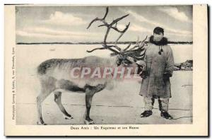 Old Postcard Polar Eskimo A Two friends and his reindeer