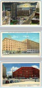 3 Postcards SYRACUSE, NY ~ Hotel Hilton, Yates Hotel, East Fayette Street Night