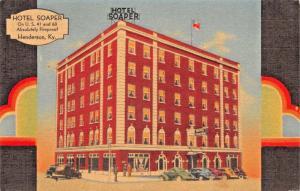 HENDERSON KENTUCKY~HOTEL SOAPER-U.S. 41 & 60-GREAT COLOR LINEN POSTCARD 1940s