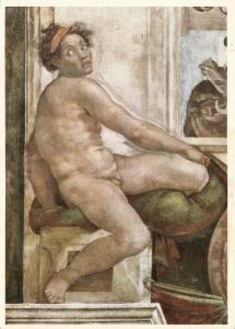 Art painting postcard - MICHELANGELO BUONARROTI - Nude Slave