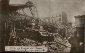 WWI Raid Destruction Goathas Sur Paris 1918 Real Photo Postcard