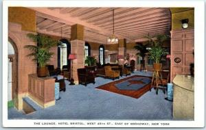 New York City Postcard The Lounge, HOTEL BRISTOL West 48th St. Kropp Linen
