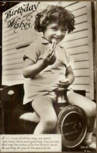 Child Riding Toy Train c1930 Birthday Real Photo Postcard
