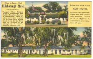 Tampa FL Hillsborough Motel 5605 Nebraska Ave. Drive-In Restaurant Postcard