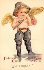 Fisherman Cupid I've caught it Ernest Nister Valentine Postcard