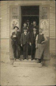 GREAT BAR SCENE Patrons in Doorway Pitcher of Beer Posters c1910 RPPC
