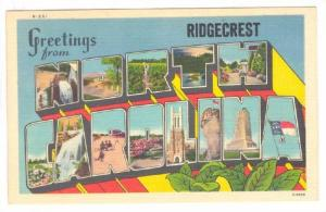 Large Letter Greetings from Ridgecrest, NORTH CAROLINA, 1930-1940s
