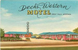 MT, Great Falls, Montana, Deck's Western Motel, Lynx Products No. 16,652F