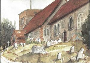 Postcard St. Michael & All Angels Church CHERITON Hampshire from Watercolour Art