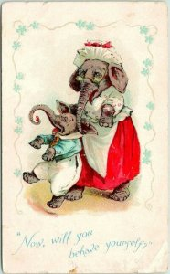 1900s DRESSED ANIMAL Postcard ELEPHANT Mother & Son Will You Behave Yourself?