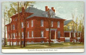 South Bend Indiana~Red Brick Epworth Hospital~Yellow 2 Story House~1910 Postcard